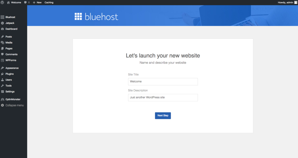 Launching site bluehost 2