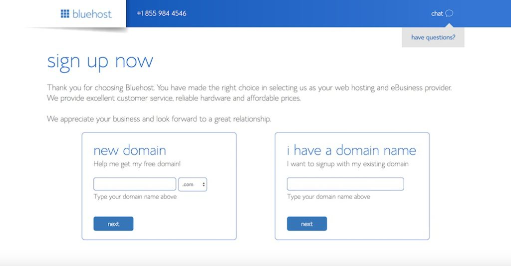 create domain in Bluehost