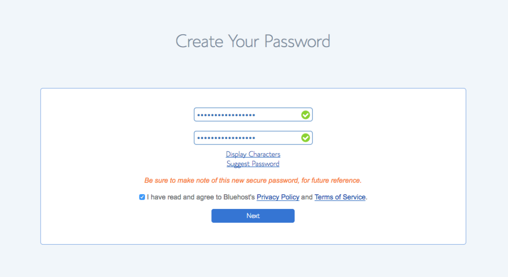 create password bluehost