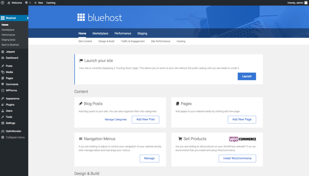 launching site bluehost