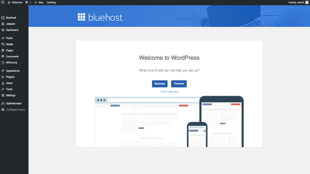 set up your WordPress Bluehost